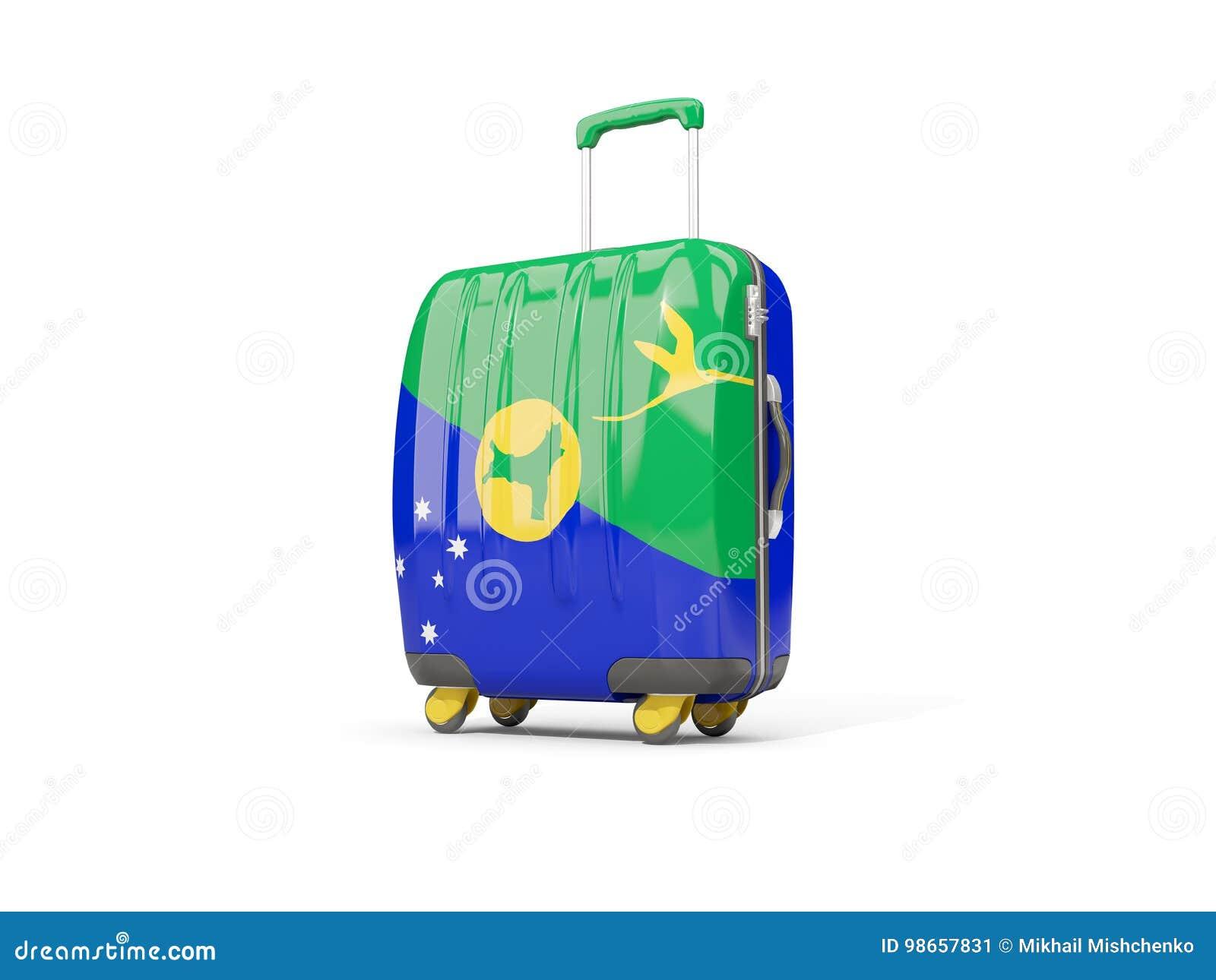 Luggage With Flag Of Christmas Island. Suitcase Isolated On Whit ...