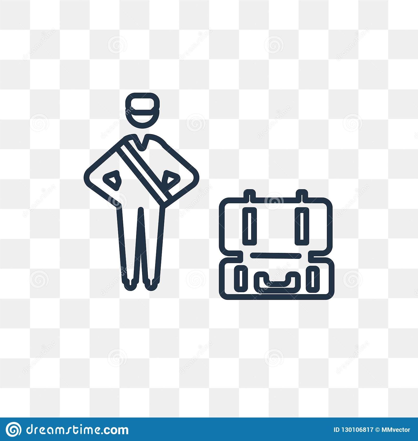 Luggage Inspection Vector Icon Isolated On Transparent