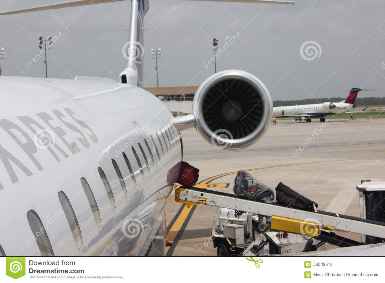 Loading Of Luggage In An Airplane Royalty Free Stock Photography Cartoondealer Com 62236025