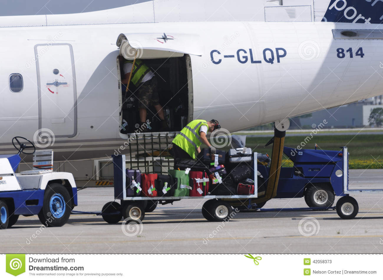 Luggage Loading In A Plane Editorial Stock Photo Image