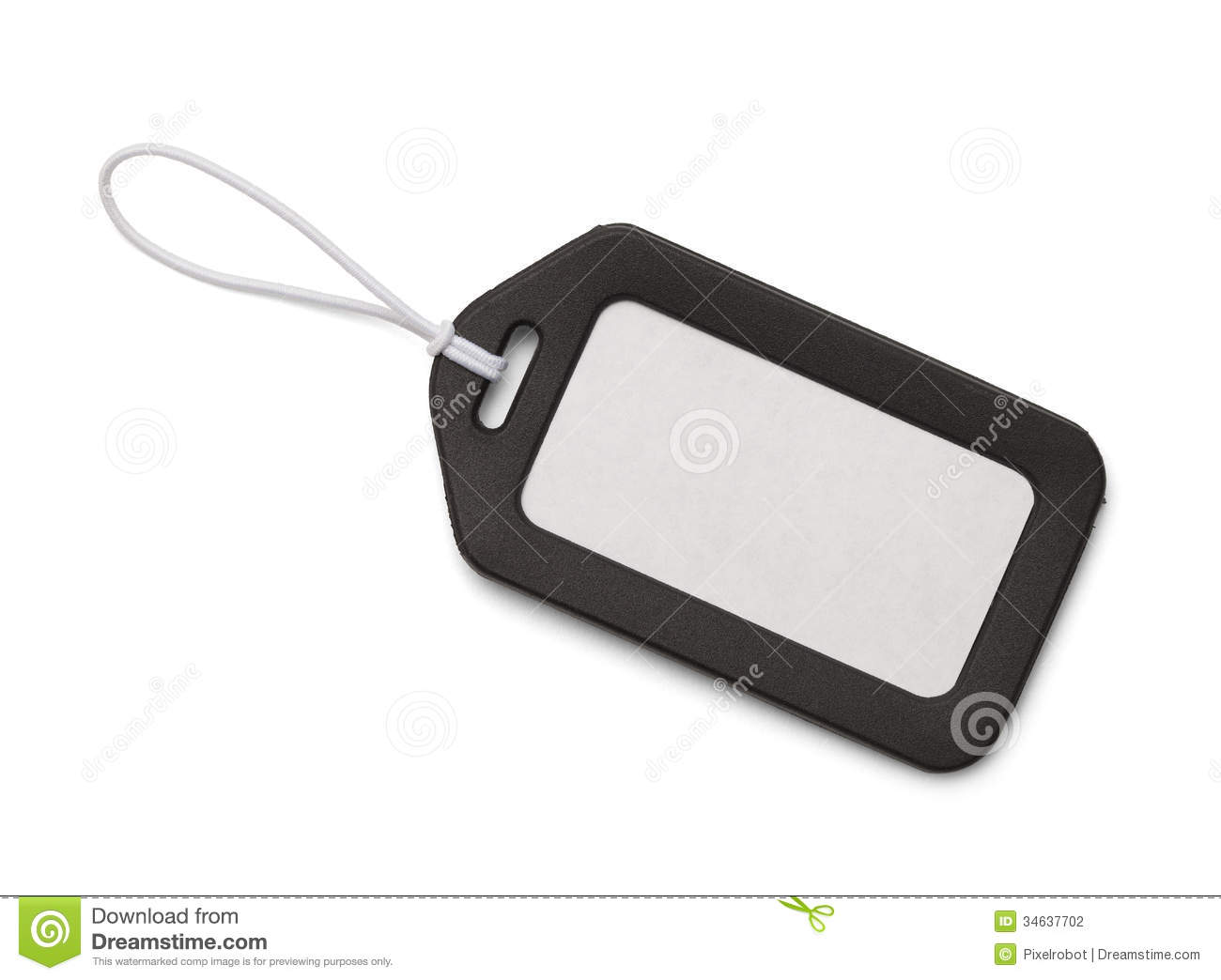 Black Bag Tag with Copy Space Isolated On White Background.
