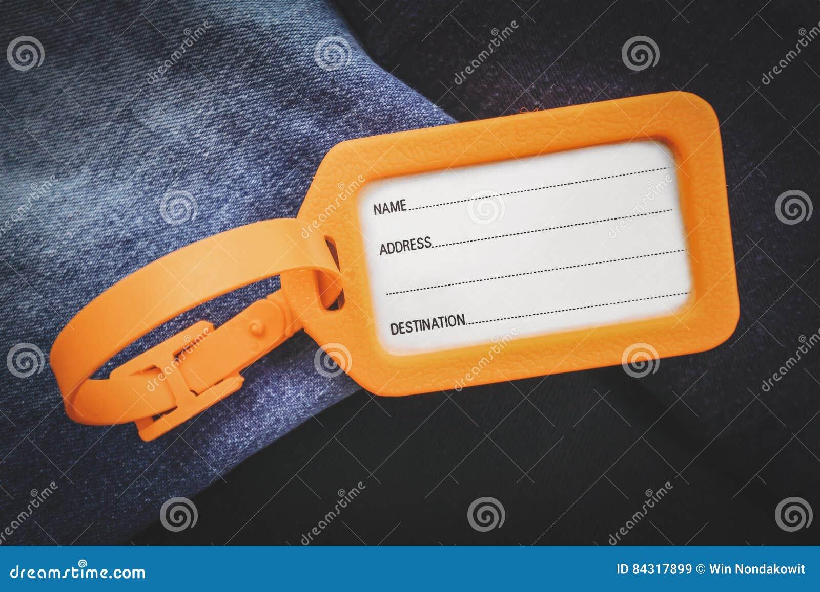 3e6e11425543 Luggage tag label stock image. Image of address, sign - 84317899