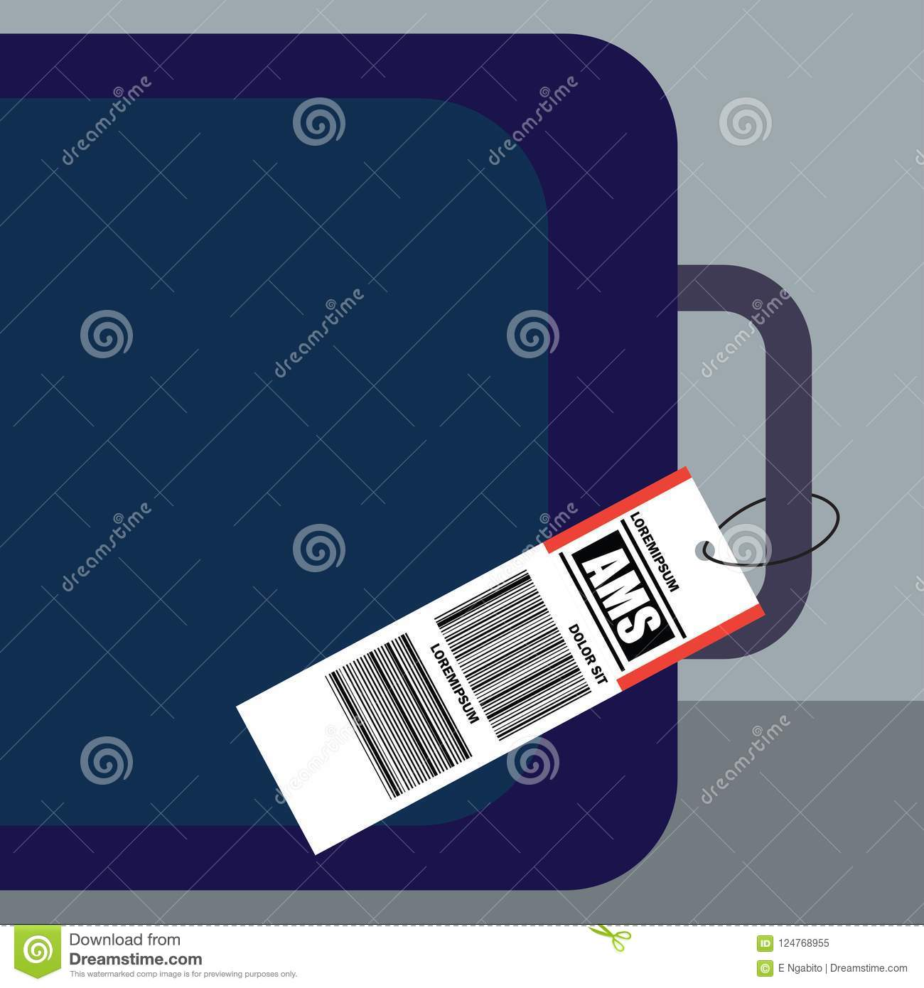 Luggage tag label on suitcase with netherlands amsterdam, country code and barcode. vector illustration