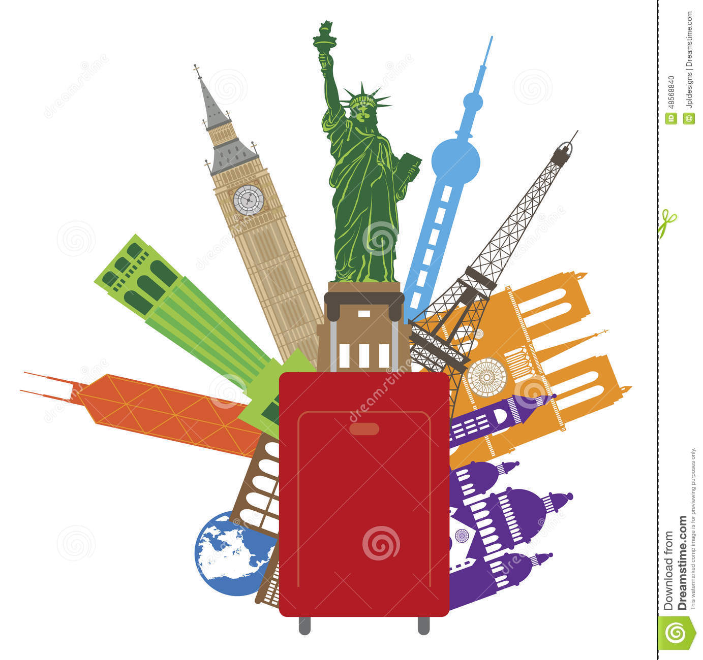 travel illustration vector luggage places europe united asia states country preview