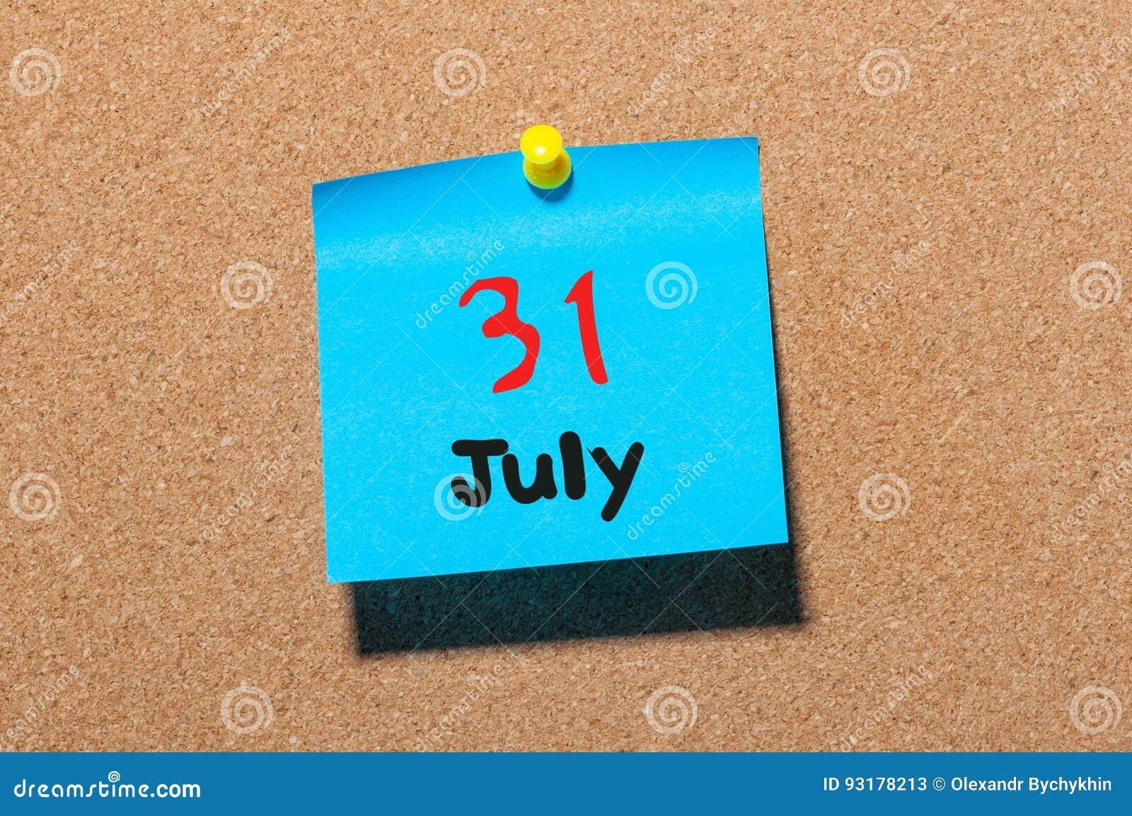 Calendario 31 Luglio.31 Luglio Giorno 31 Del Mese Calendario Dell Autoadesivo Di