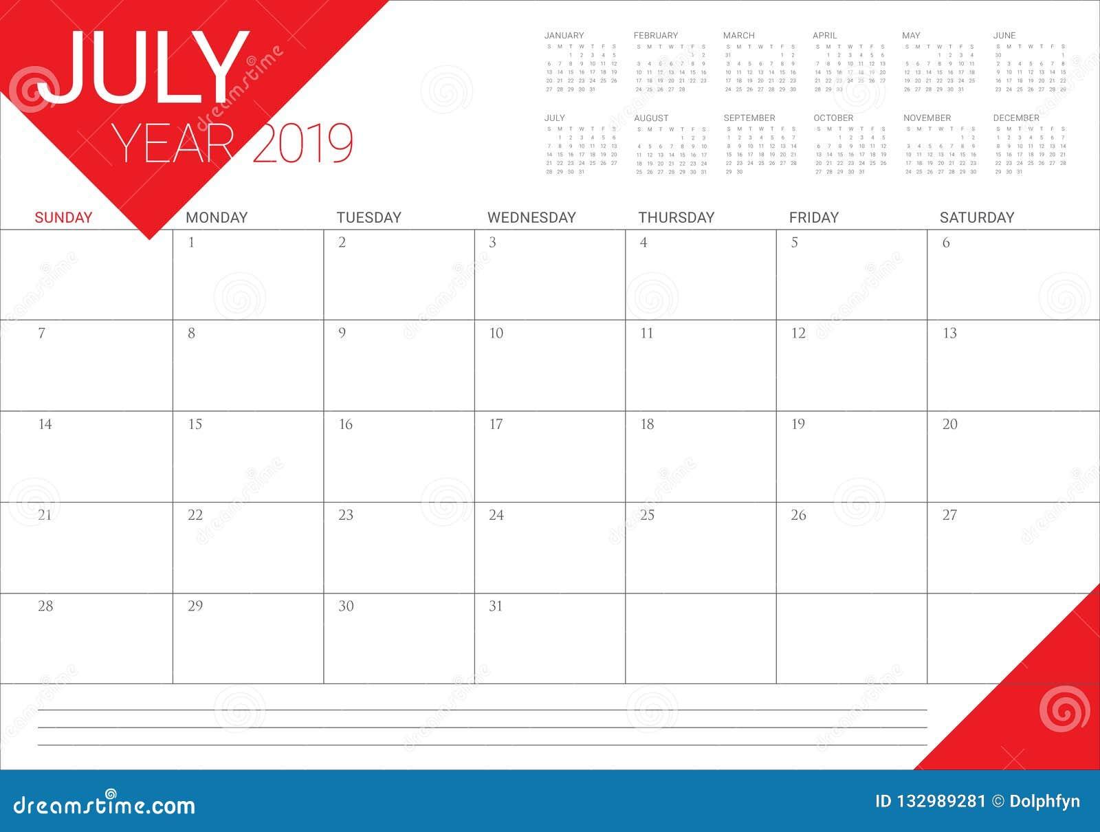 Calendario 31 Luglio 2019.Luglio 2019 Illustrazione Di Vettore Del Calendario Da