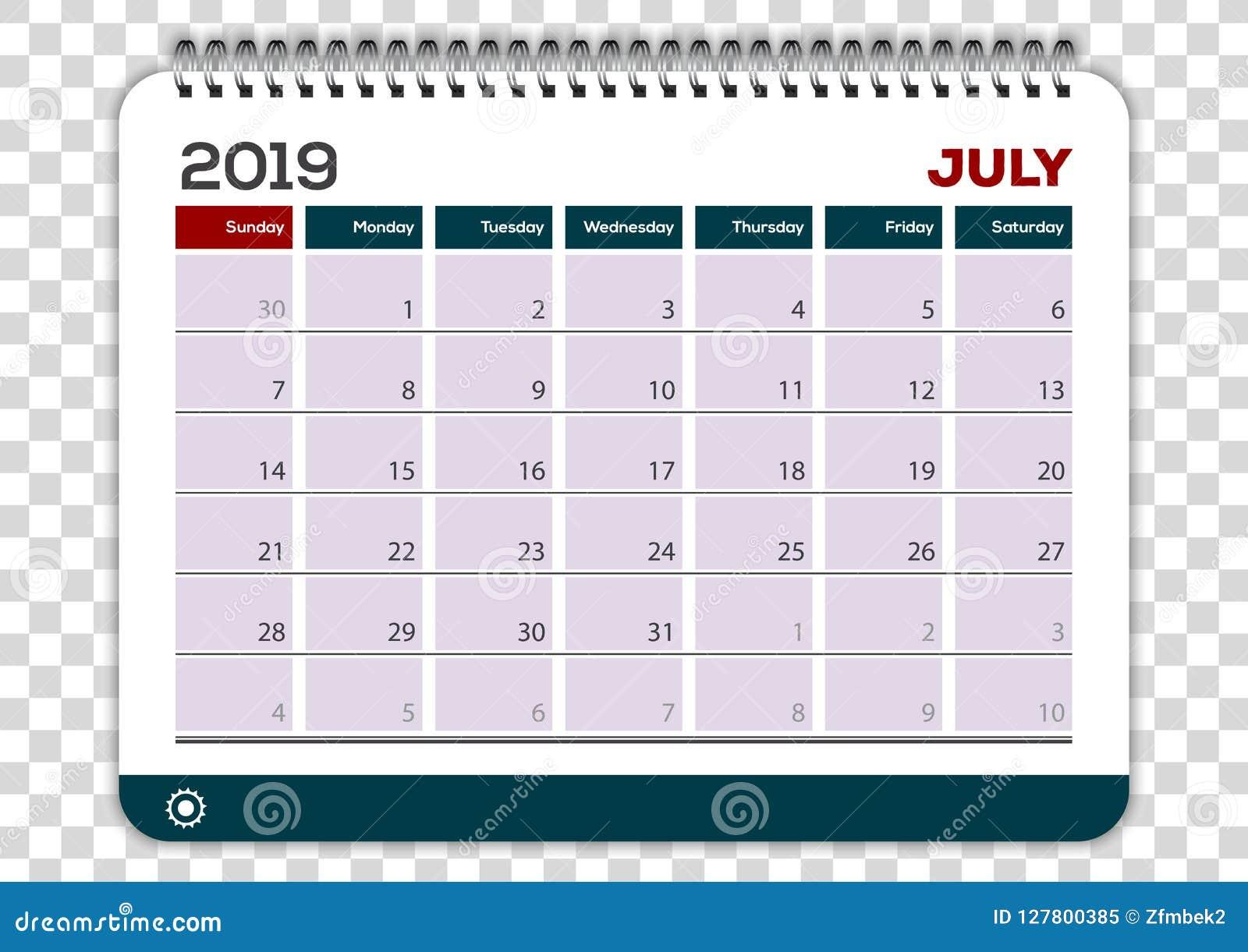 Calendario 31 Luglio 2019.Luglio 2019 Modello Di Progettazione Del Pianificatore Del