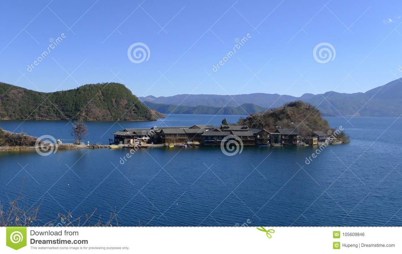 Lugu lake Li ge island stock photo  Image of hills, china