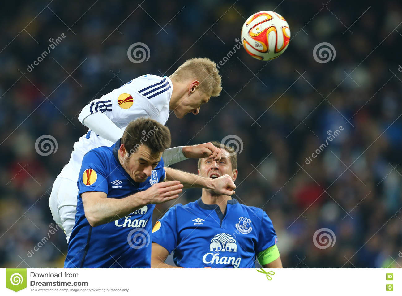 Lukasz Teodorczyk powerful header, UEFA Europa League Round of 16 second leg match between Dynamo and Everton