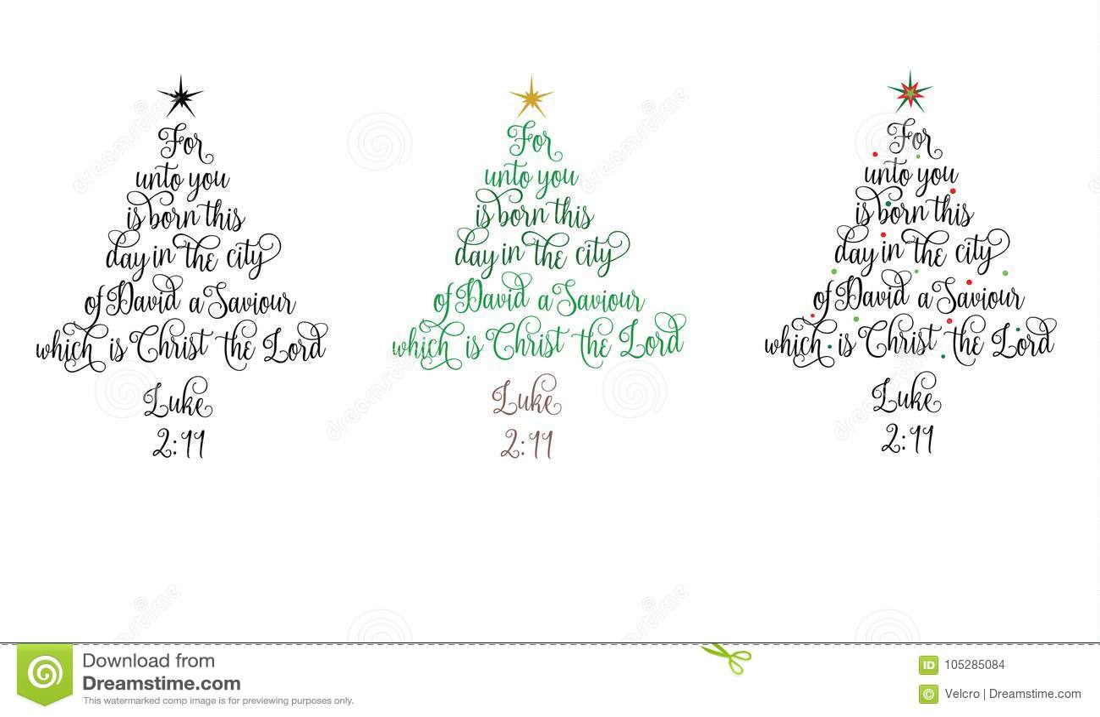 Luke 2:11 Christmas Tree Stock Vector. Illustration Of