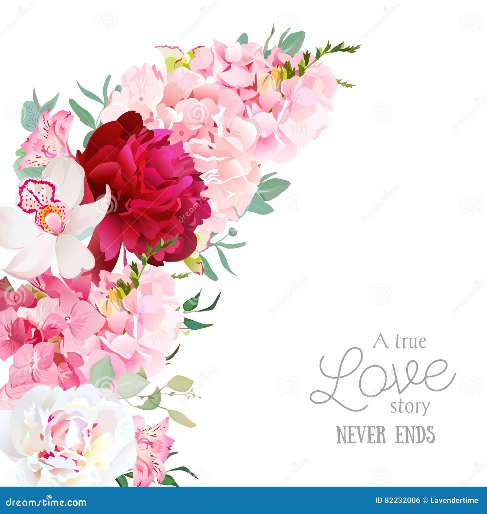 Luksusowa kwiecista półksiężyc kształta wektoru rama z peonią, alstroemeria leluja, orchidea, hortensja, eukaliptus na bielu