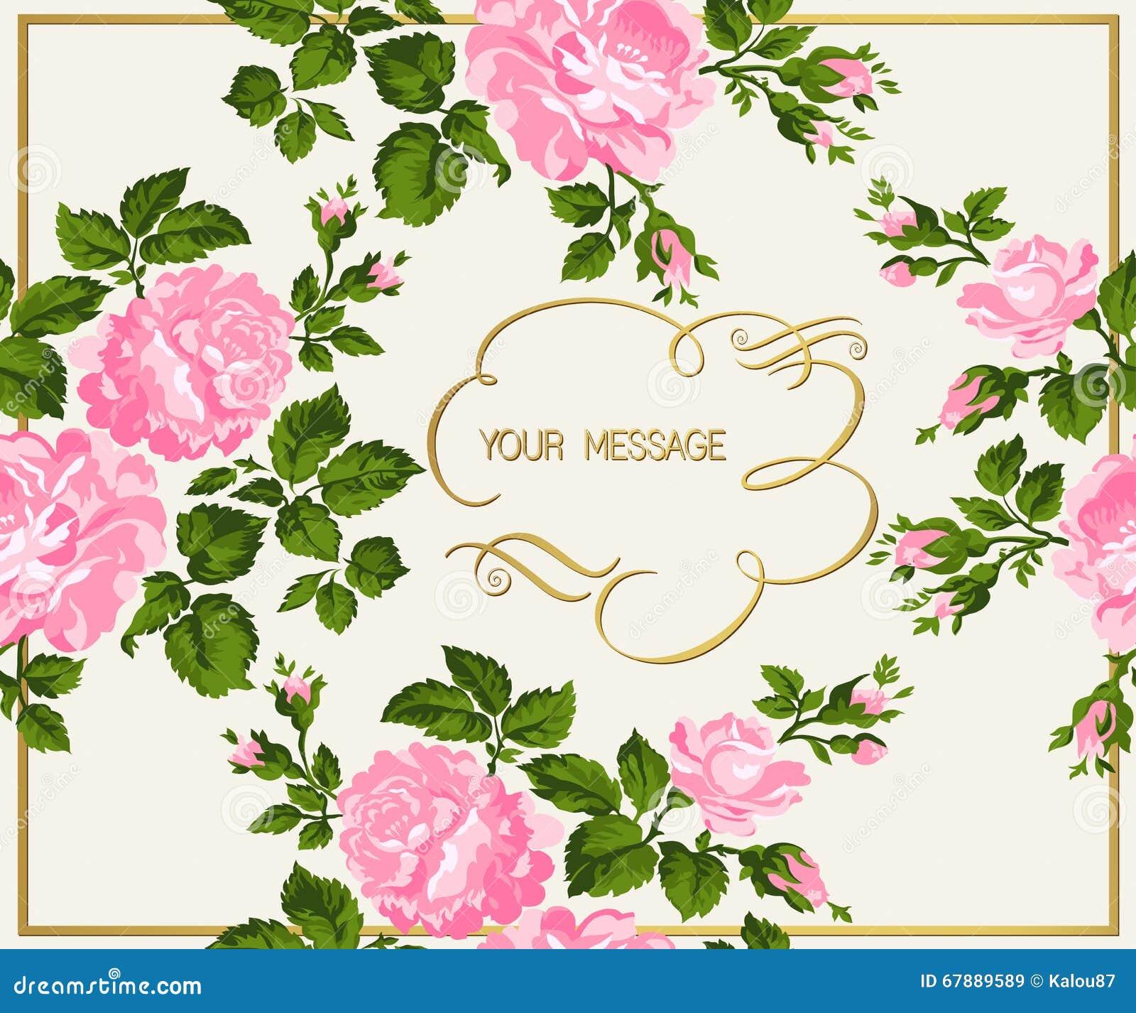 Luksusowa rocznik karta różowe róże z złocistą kaligrafią również zwrócić corel ilustracji wektora