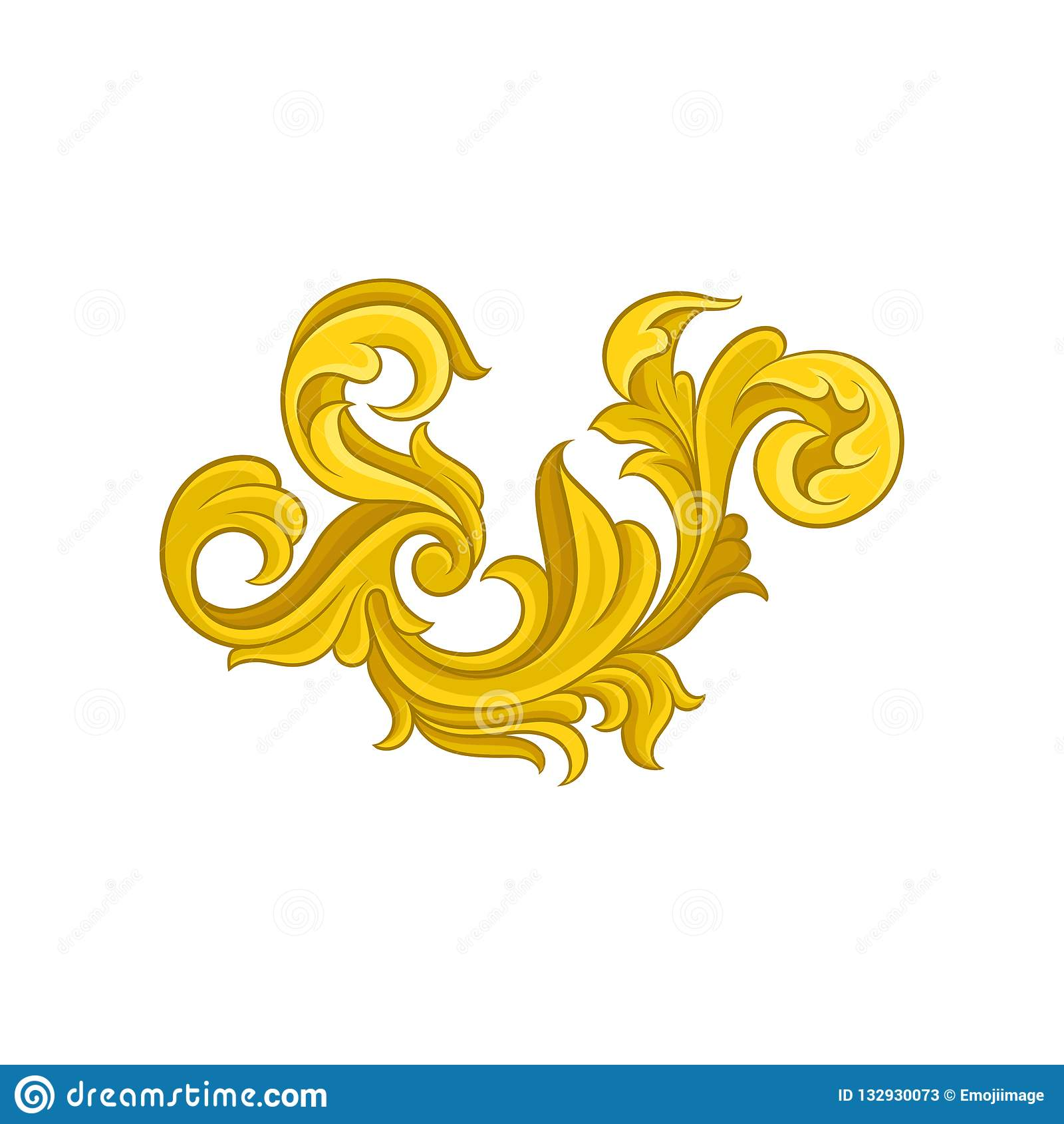 Luksusowy barokowy ornament kwiecisty złoty wzór Dekoracyjny wektorowy element dla pocztówki lub ślubu zaproszenia