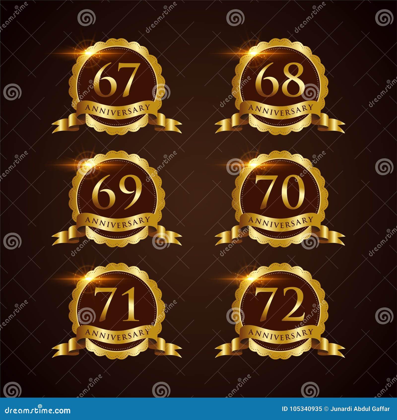 Luksusowy 67-72 odznaki rocznicy Wektorowy ilustrator Eps 10
