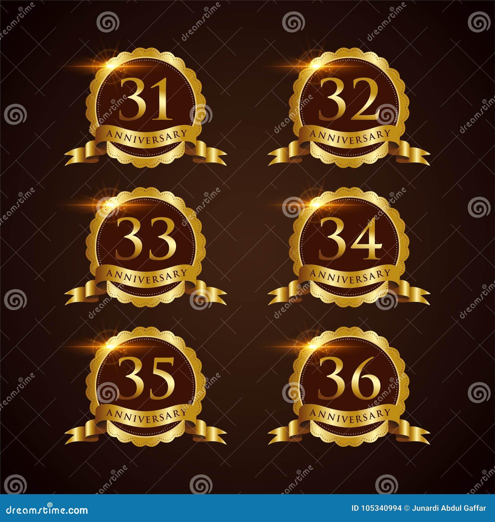 Luksusowy 31-32 odznaki rocznicy Wektorowy ilustrator Eps 10