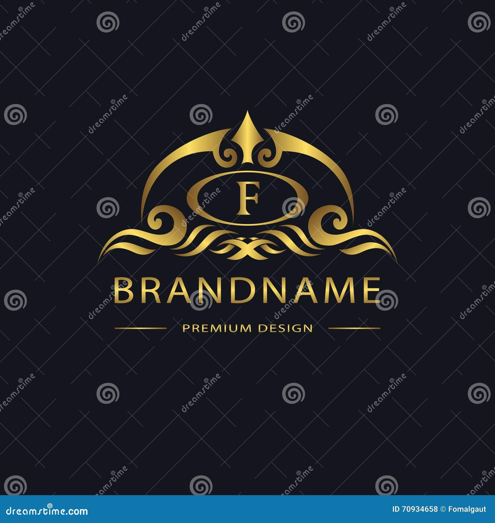 Luksusowy rocznika logo Biznesu znak, etykietka, Listowy emblemat F dla odznaki, grzebień, restauracja, królewskość, butika gatun
