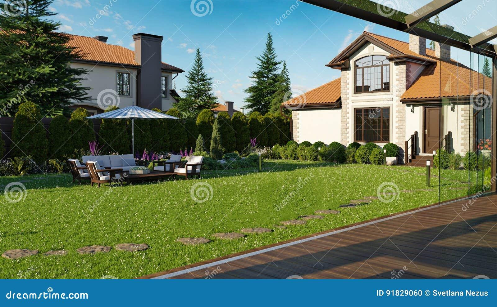 Luksusowy rodzina dom z kształtować teren