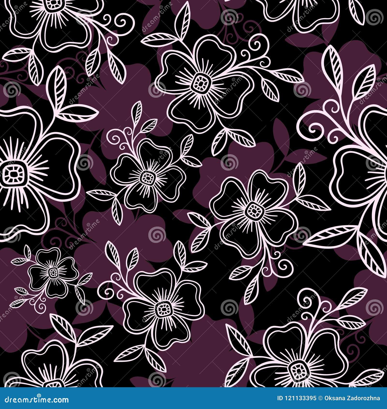Luksusowy Wektorowy bezszwowy wzór - grafika kwiaty z liśćmi w fiołkowych kolorach