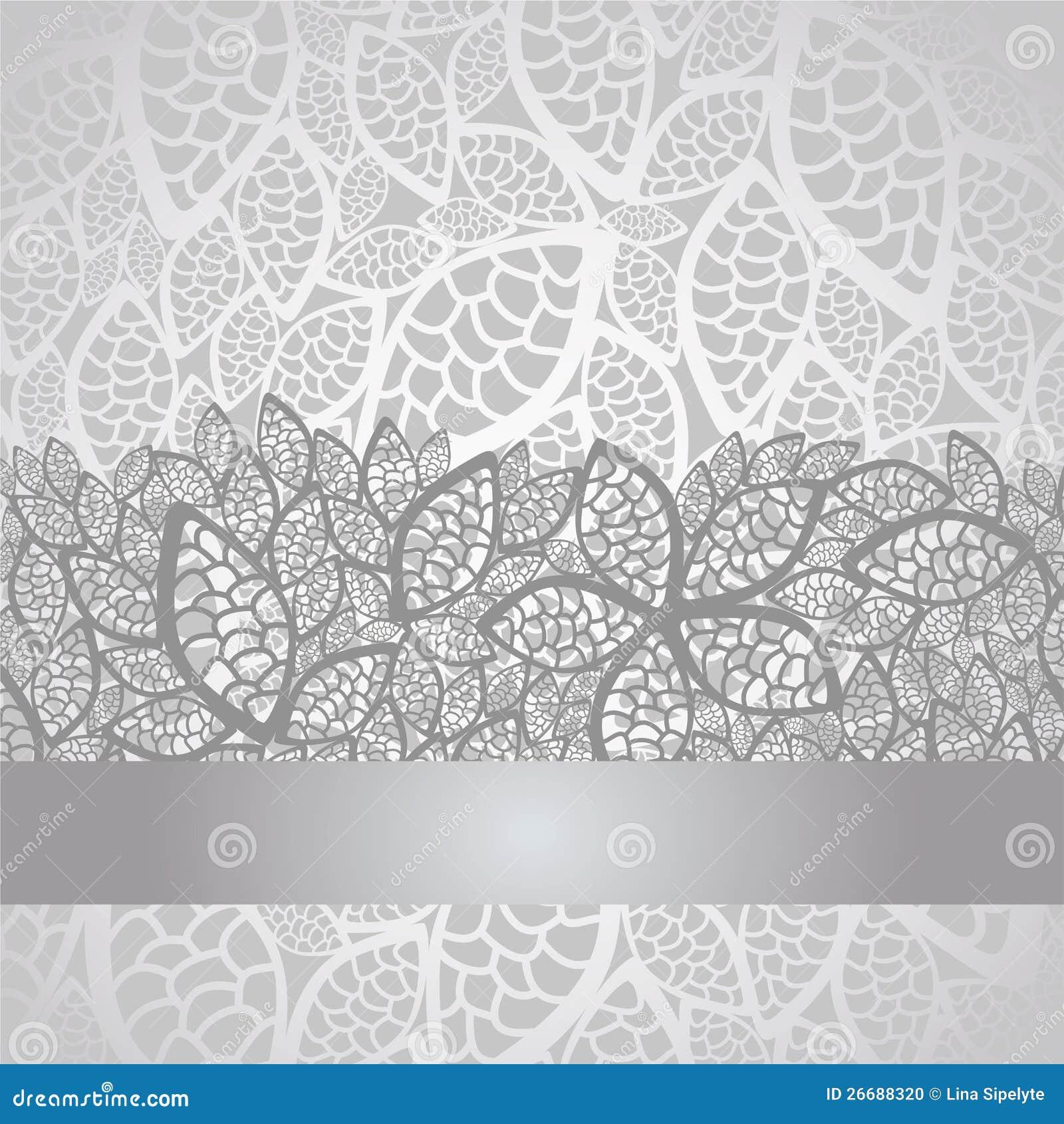 Luksusu srebra liść koronki granica i tło