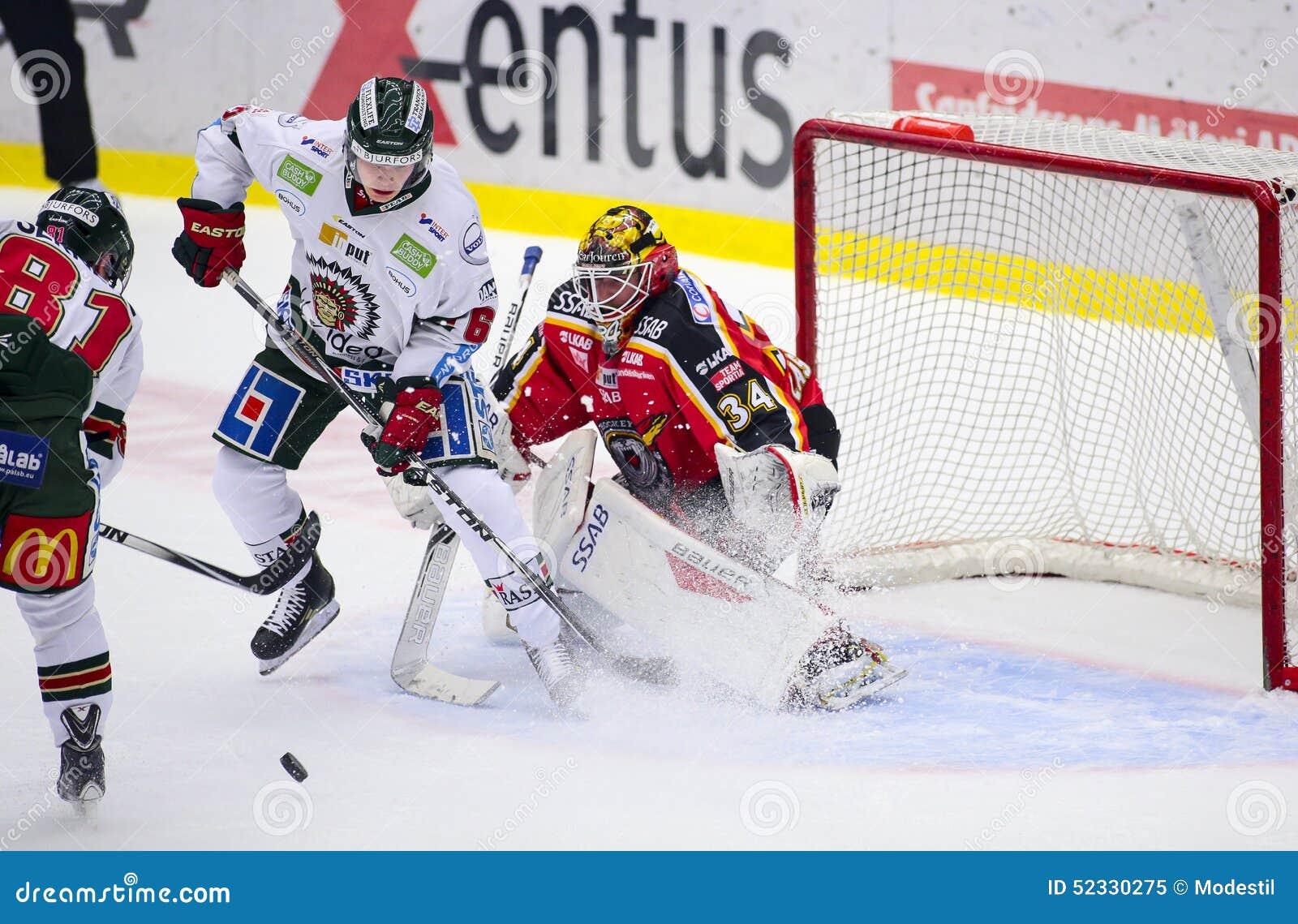 Lulea, Sweden - March 18, 2015. Joel Lassinantti (#34 Lulea Hockey) is having a tough time in the net. Swedish Hockey