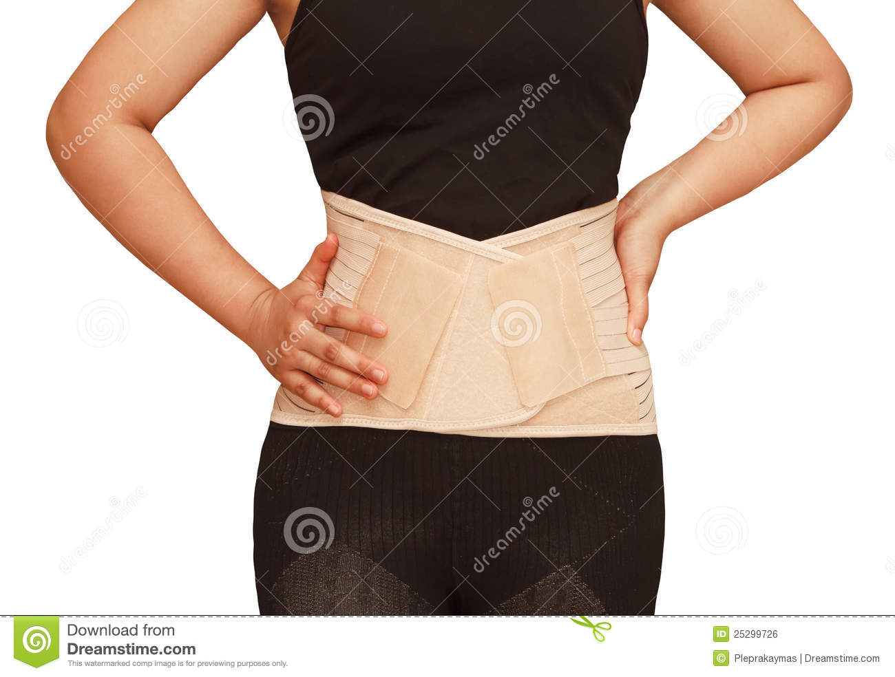 Woman wearing brace corset back support foe back strain injury