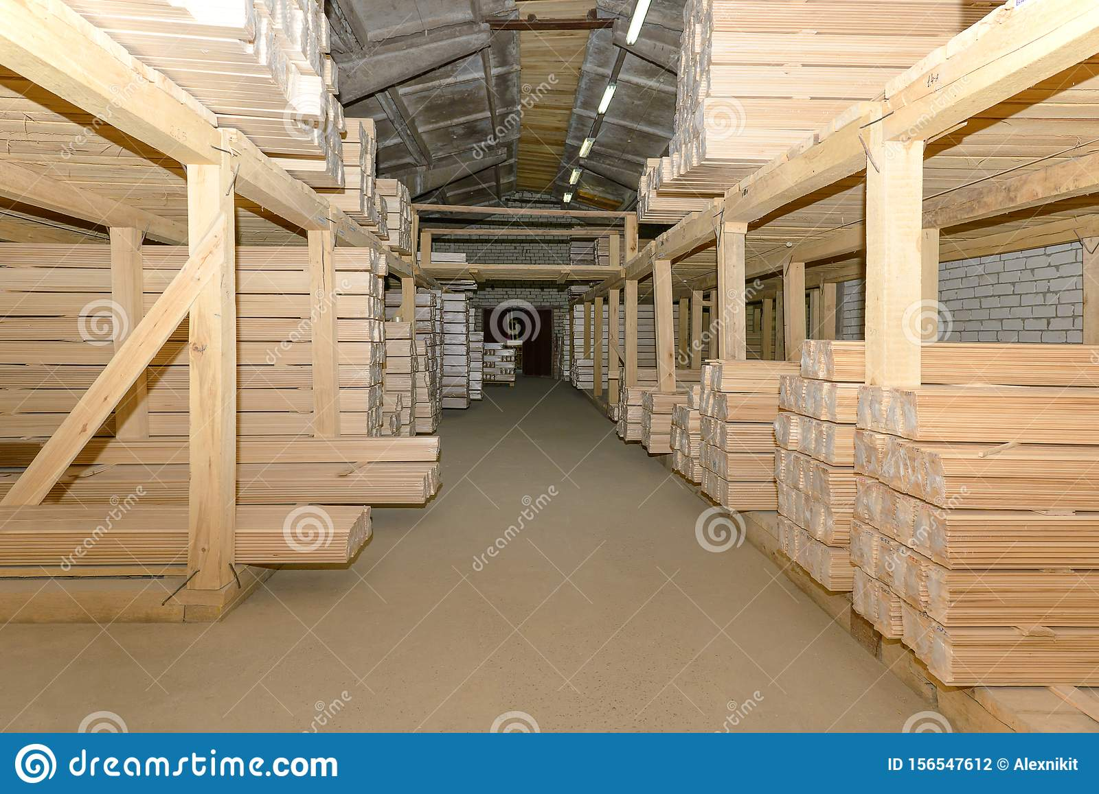 Lumber warehouse with shelves