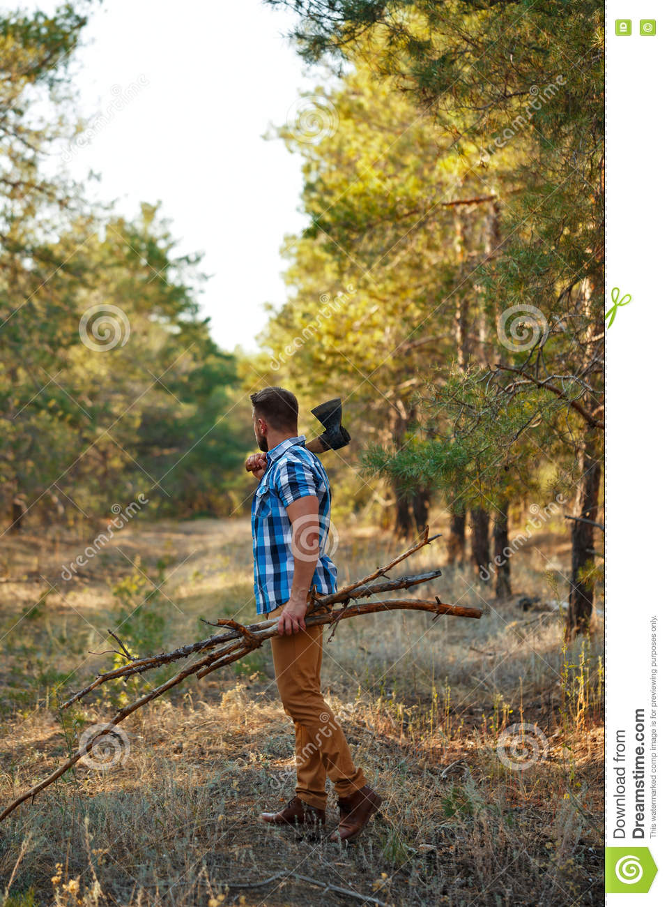 Lumberjack With An Ax And Firewood Goes Through Woods