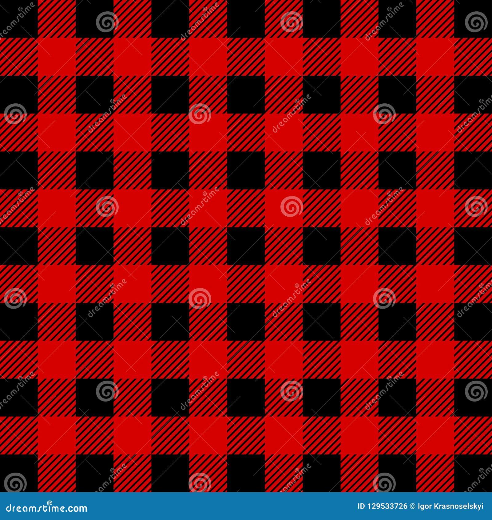 Lumberjack Bawoliej szkockiej kraty Bezszwowy wzór Czerwony i Czarny Lumberjack