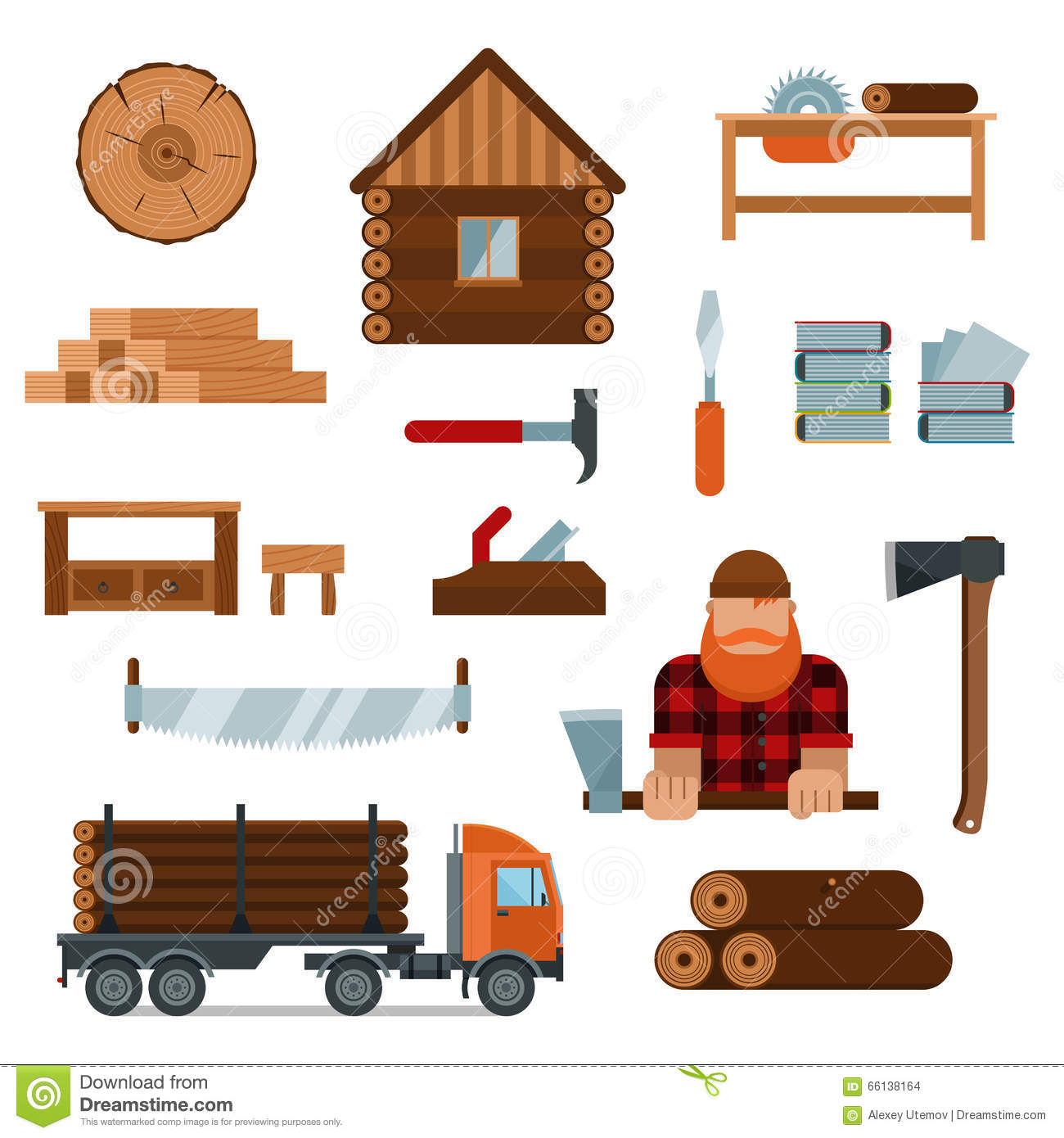 Lumberjack Character With Tools Vector Infographic Elements Stock 58018140