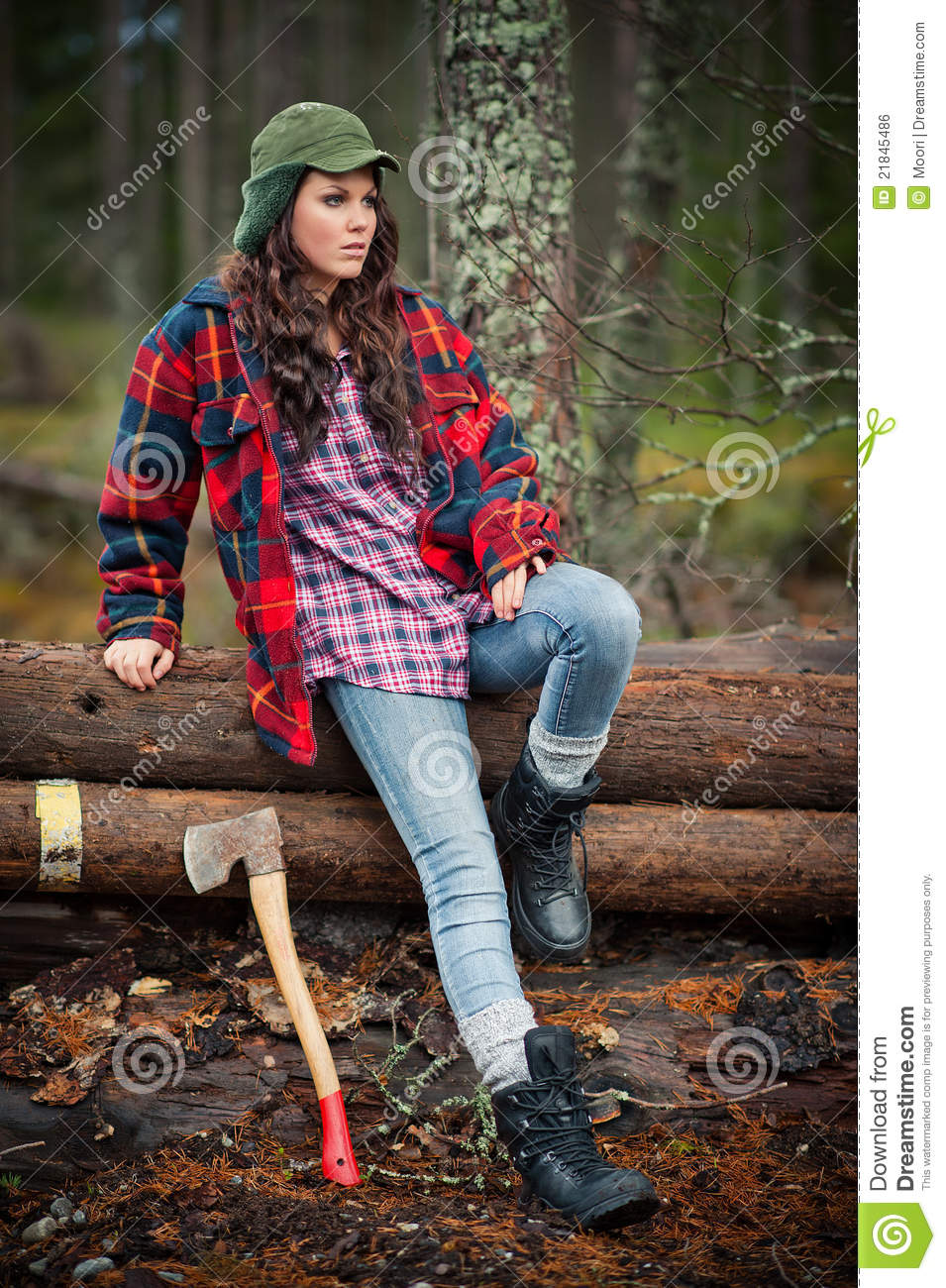 Lumberjack Girl Stock Photo Image Of Rural Model Forest