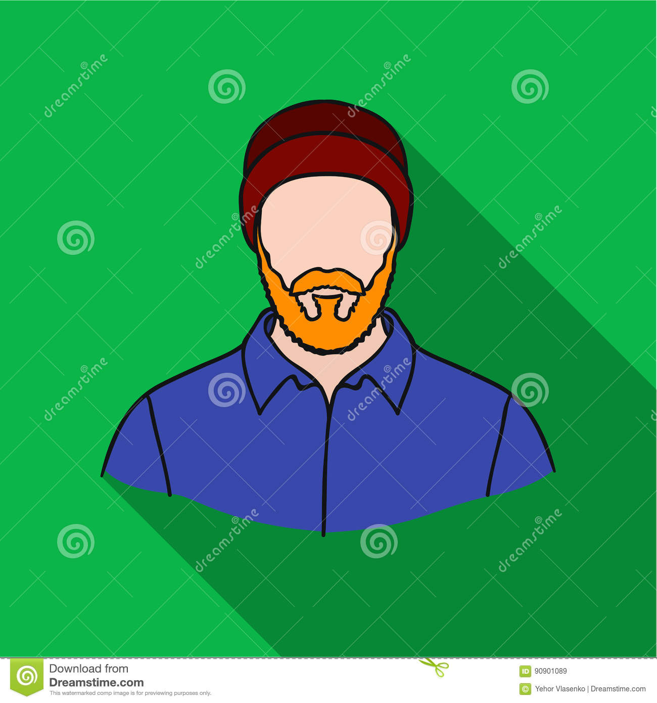 vector flat illustration of lumberjack cartoon vector
