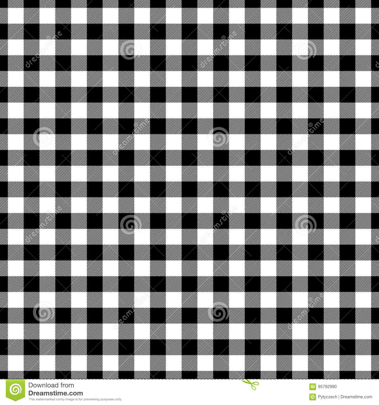 Lumberjack Plaid Pattern In Black And White Seamless Vector Pattern