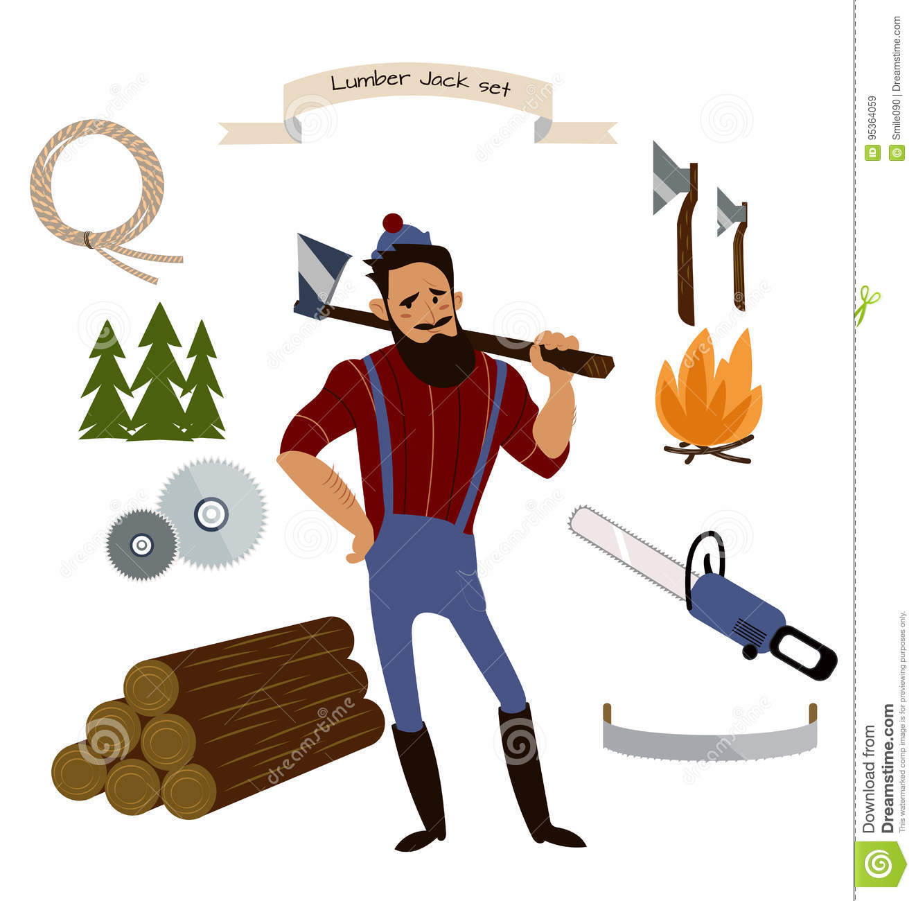 Lumberjack Timber And Woodworking Tools Vector Icons On White