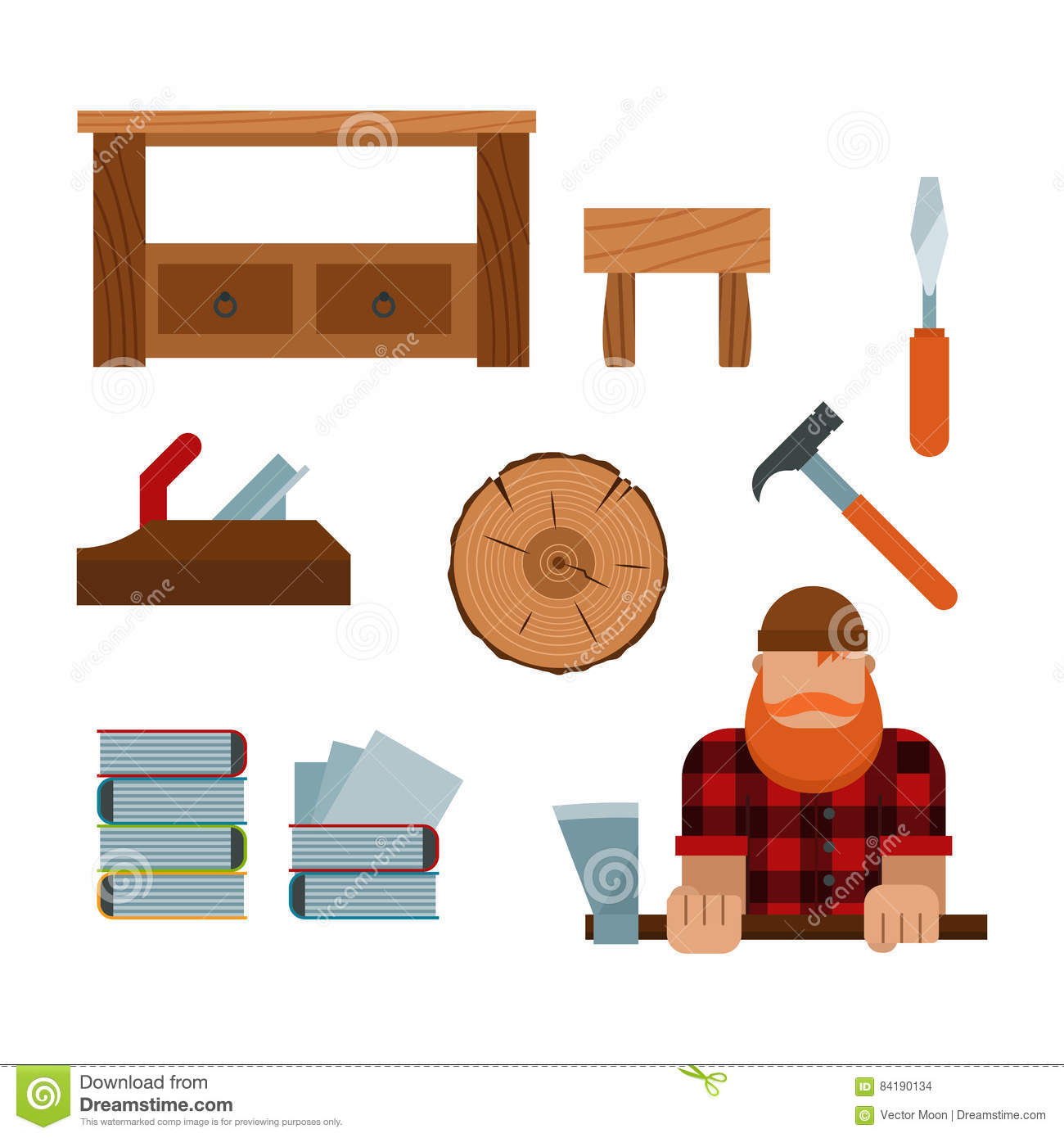 Lumberjack And Woodworking Tools Icons Vector Illustration Stock