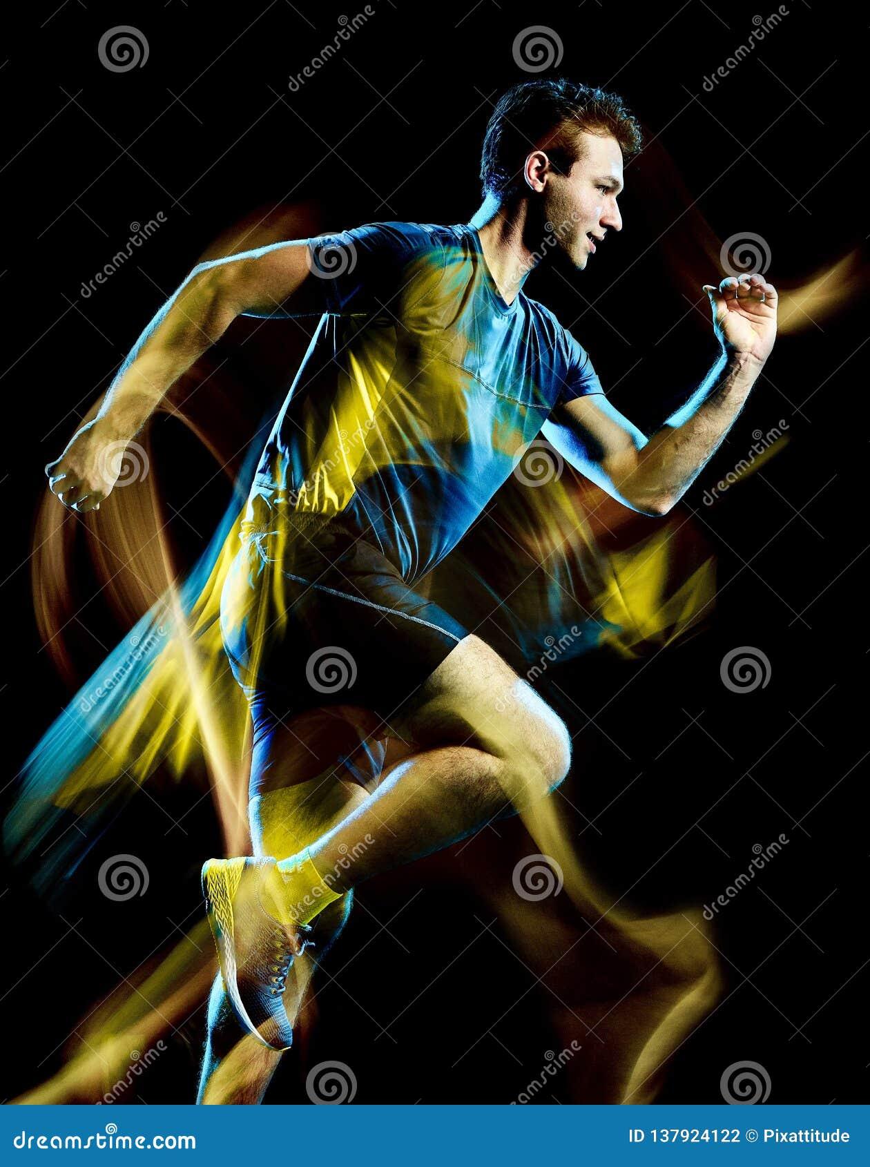 Lumière d isolement par homme pulsante de taqueur courant de coureur peignant le fond noir