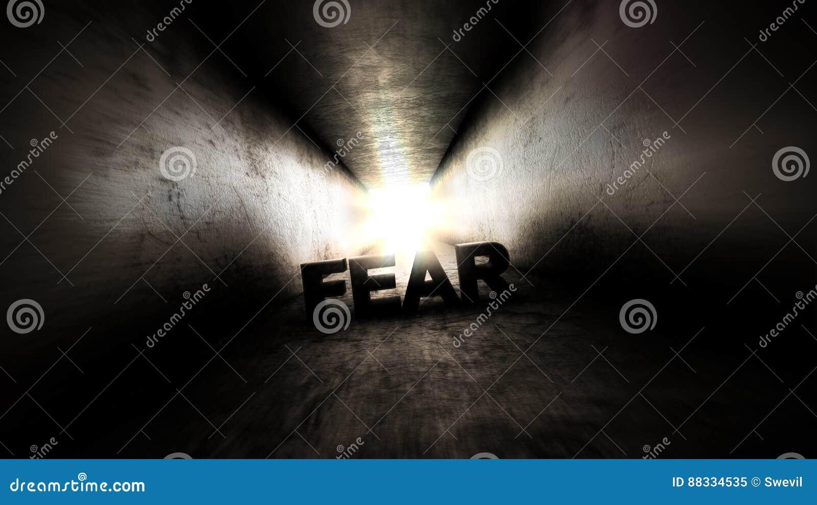Lumière lumineuse à la fin du Crainte dans le couloir sombre