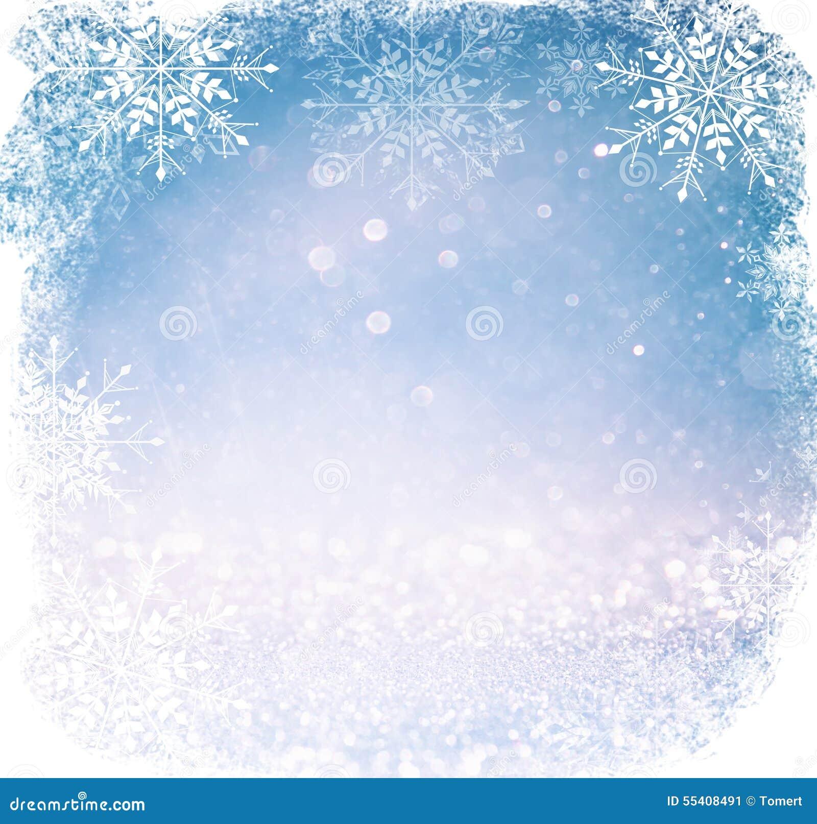 Lumières abstraites blanches et argentées de bokeh fond defocused avec le recouvrement de flocon de neige