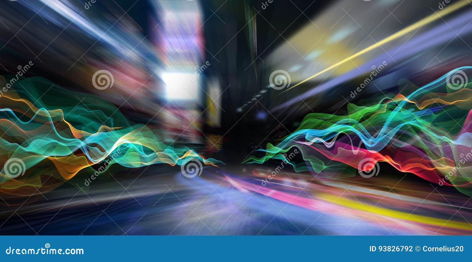Lumières abstraites de ville et vagues colorées