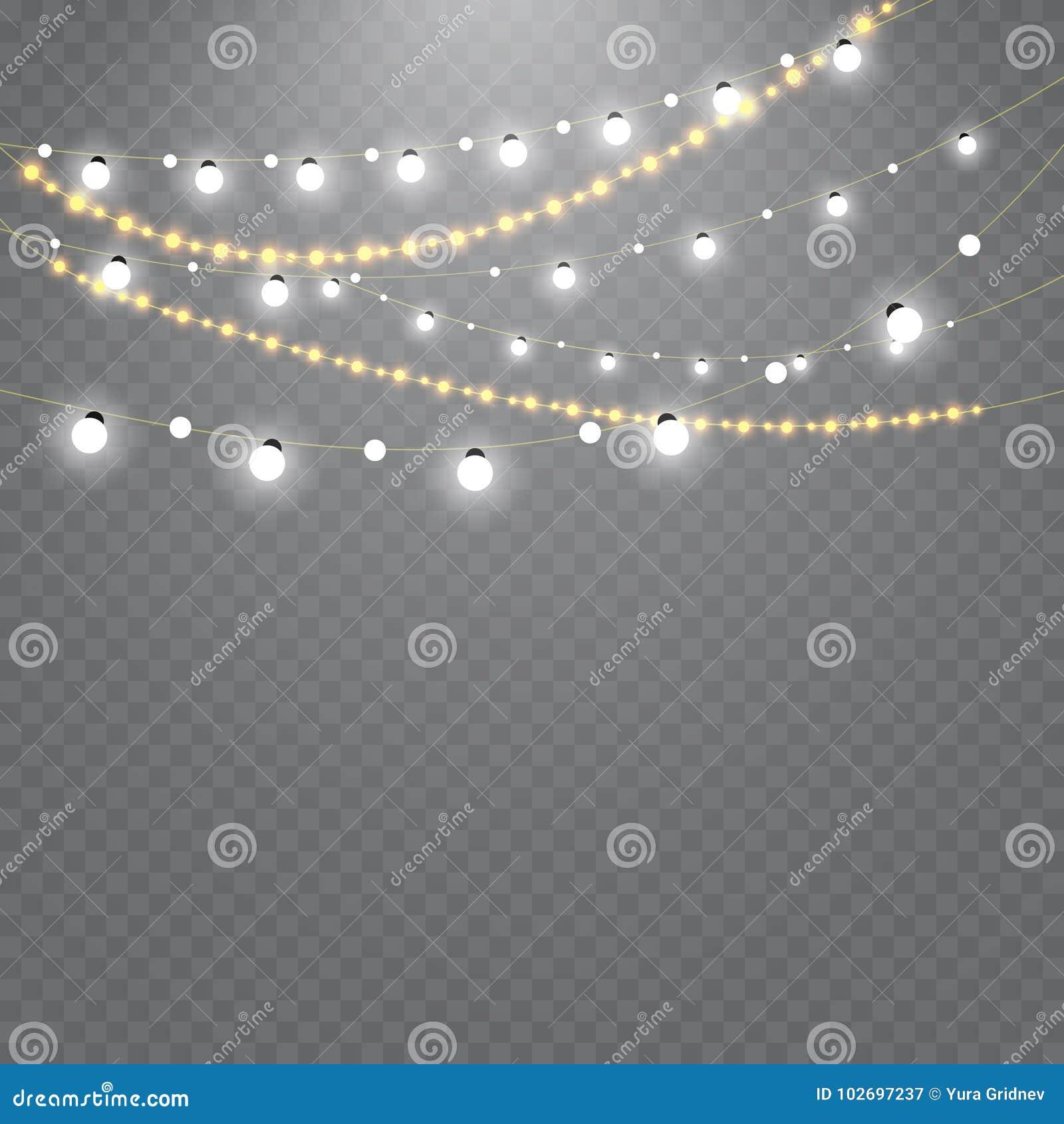 Lumières de Noël d isolement sur le fond transparent Ensemble de guirlande rougeoyante d or de Noël Illustration de vecteur