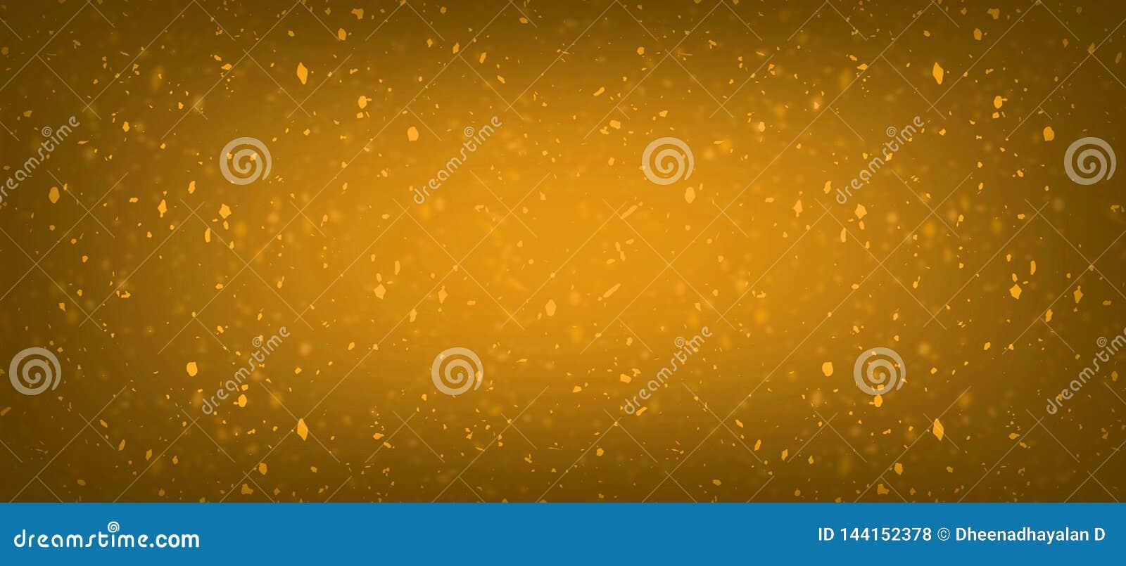 Lumi?res d or d ?claboussure de bokeh de miel de tache floue de confettis oranges abstraits de scintillement avec le fond de comp