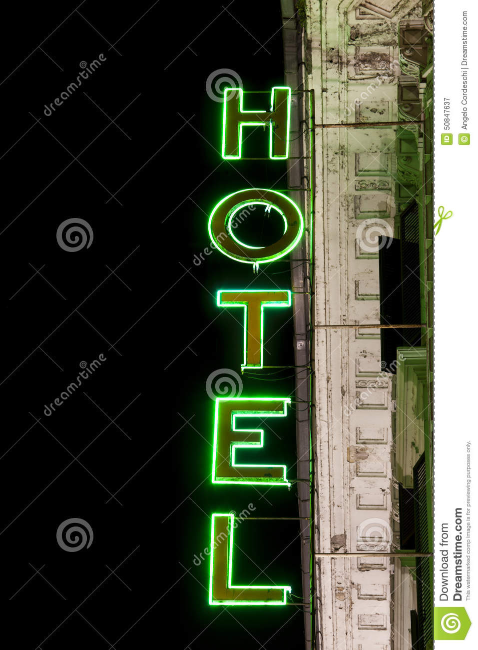 Luminous Neon Lights Hotel Sign Vertical