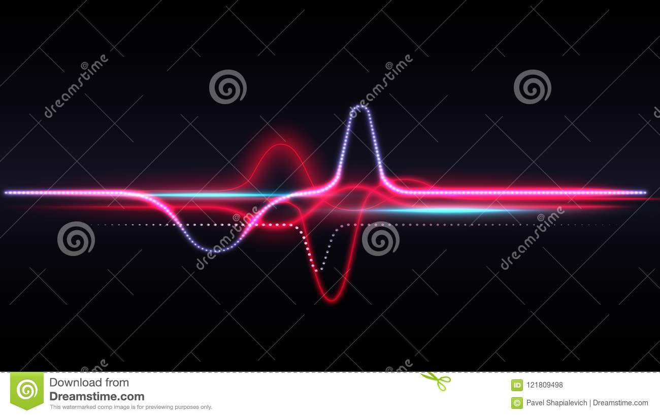 Luminous red energy waves stock vector  Illustration of