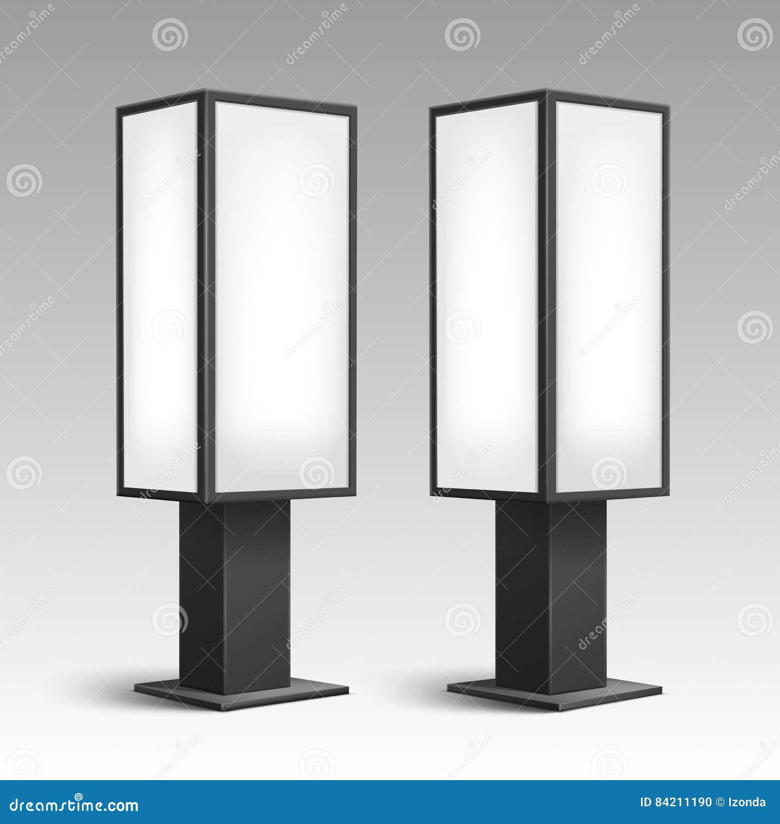 Indoor Pillars luminous stands pillars for indoor advertising stock photo - image