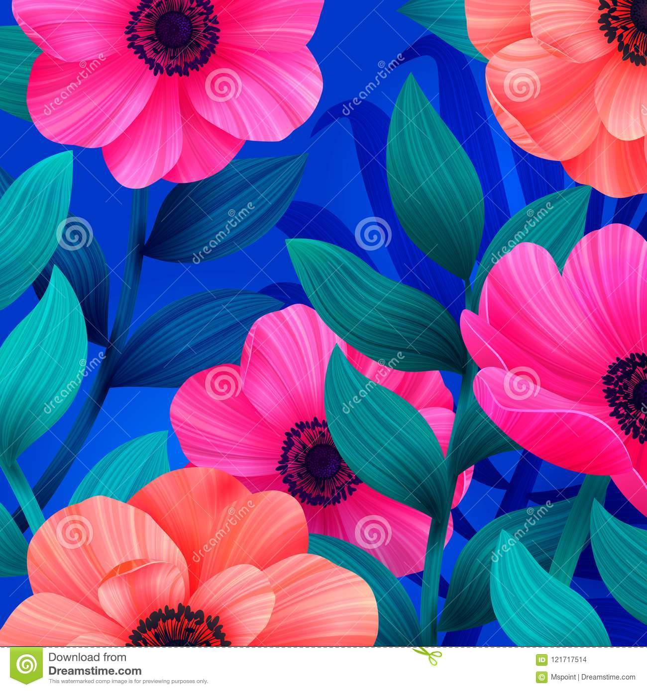 Luminous Tropical Background With Pink And Coral Flowers Beautiful