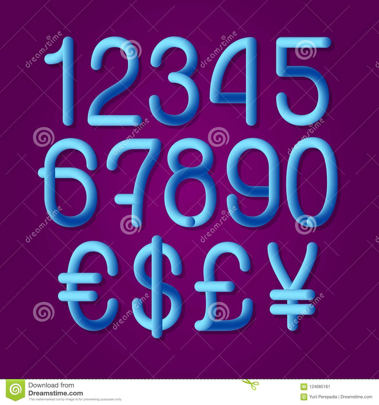 Luminous Tubular Numbers With Currency Signs Of American Dollar