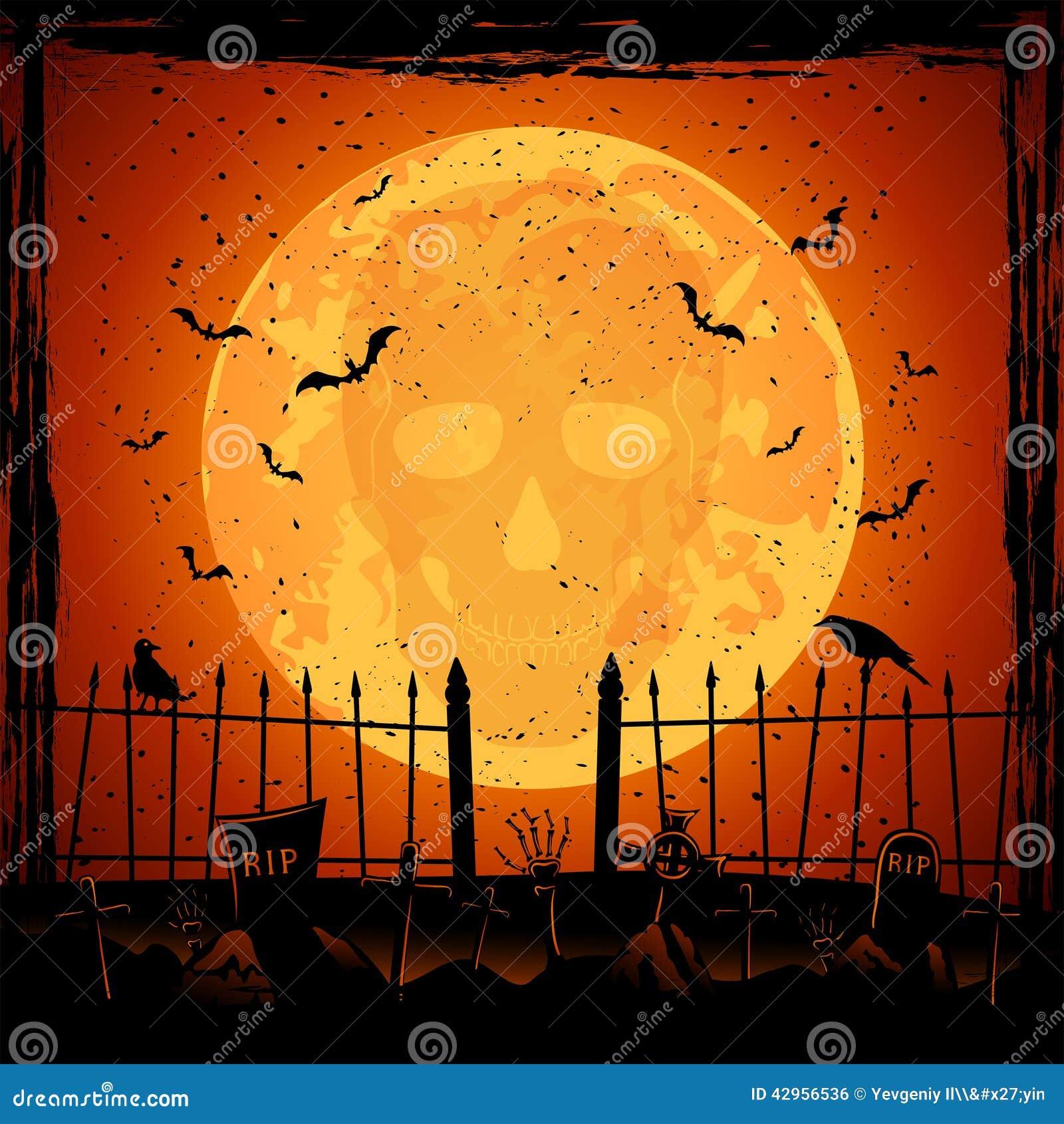 Luna arancio con il cranio