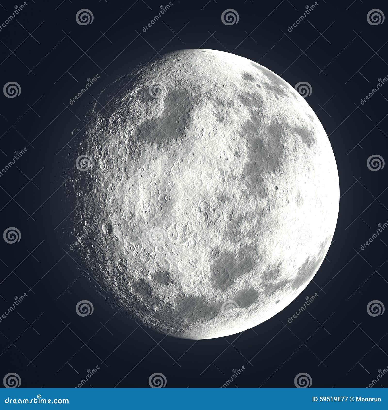 Luna con los cráteres lunares