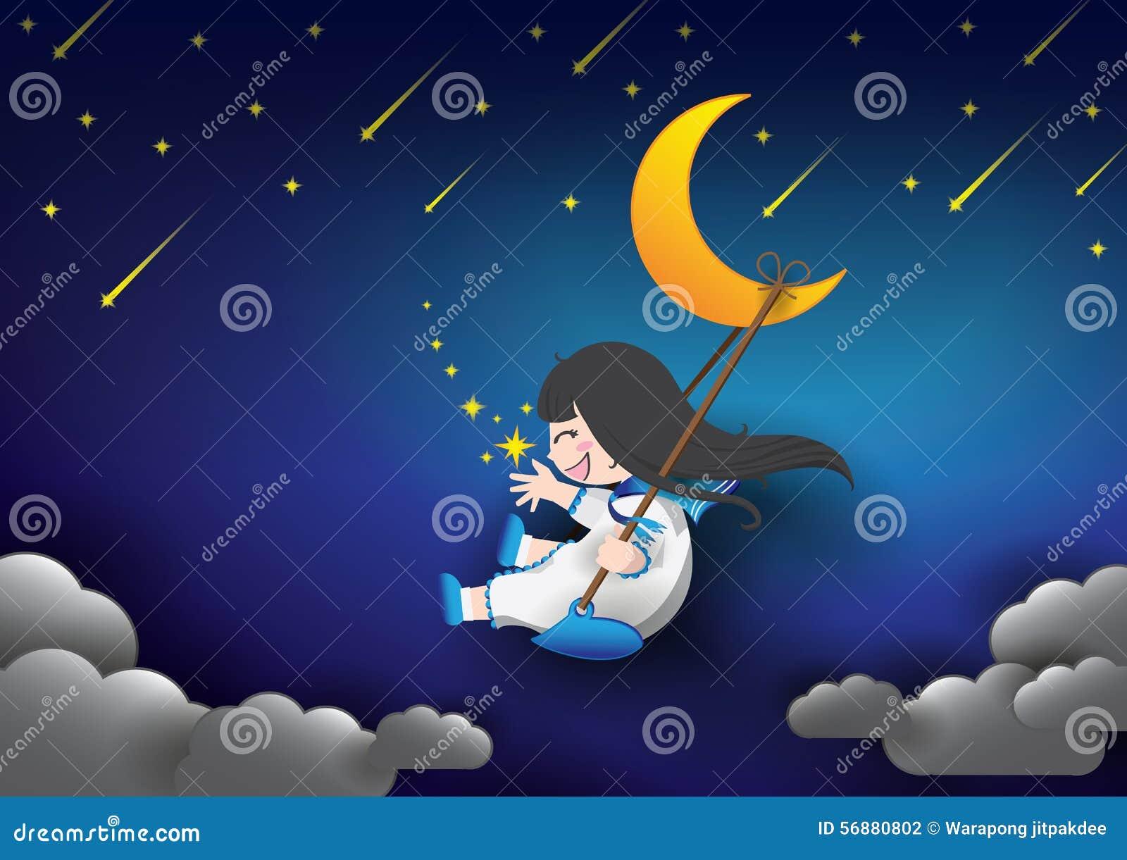 Luna e ragazza del cielo notturno