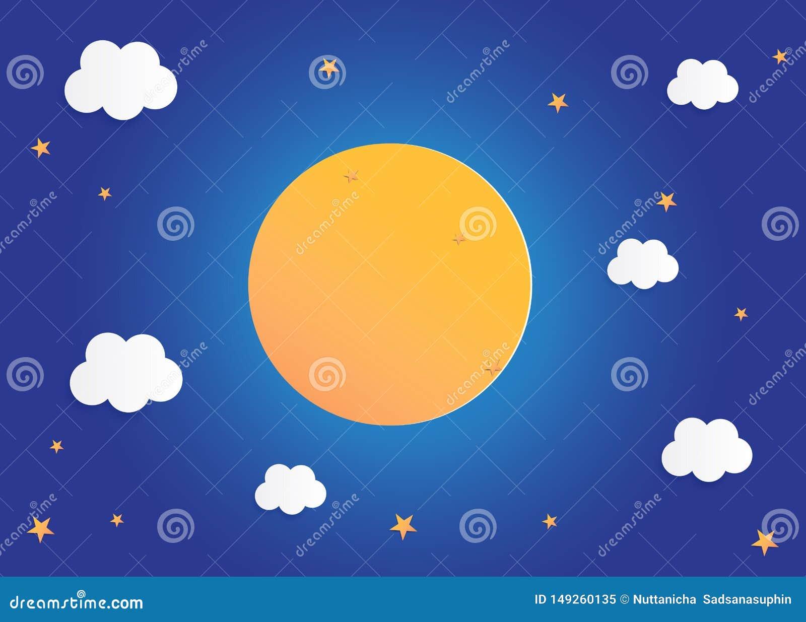 Luna e stelle nella mezzanotte, illustrazione piana di vettore di progettazione di arte del fondo di carta di stile