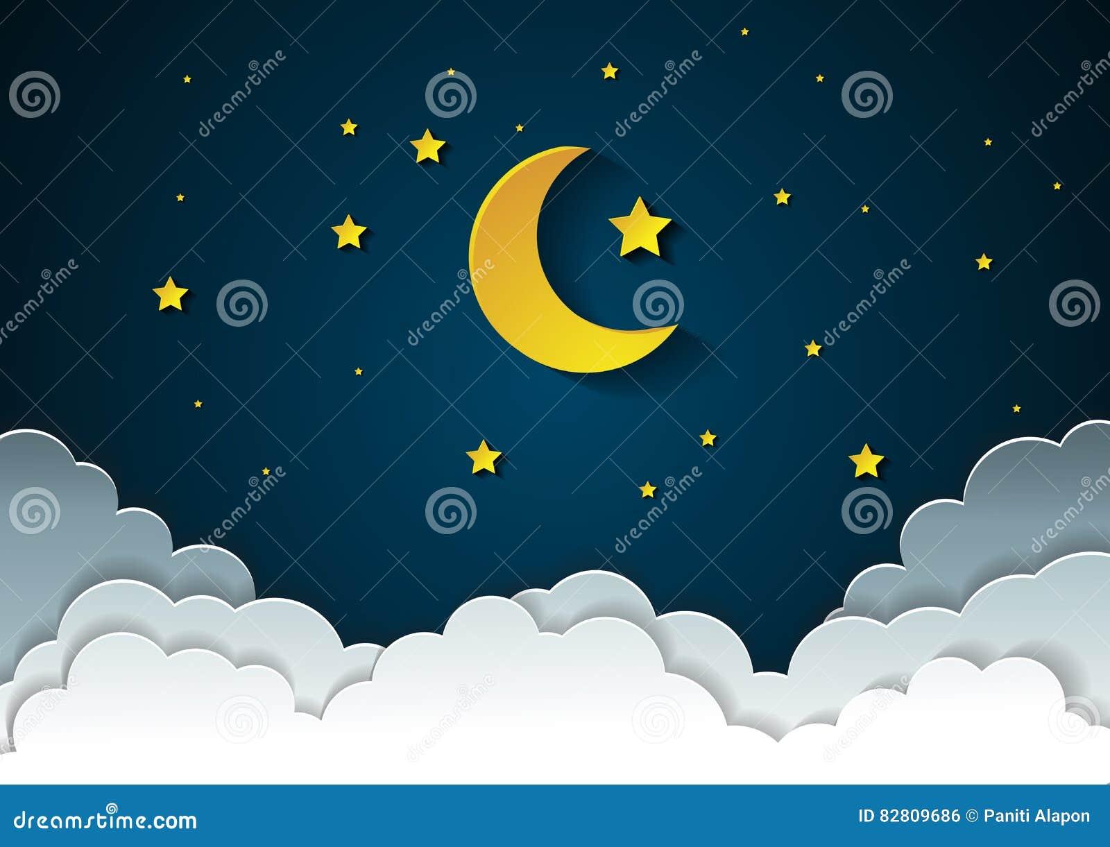 Foto Di Luna E Stelle.Luna E Stelle Nella Mezzanotte Stile Di Carta Di Arte